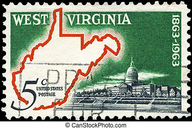 USA - CIRCA 1963 West Virginia - USA - CIRCA 1963: A Stamp...