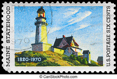 USA - CIRCA 1970 Lighthouse - USA - CIRCA 1970: A Stamp...