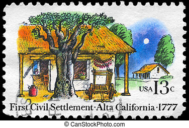USA - CIRCA 1977 Alta California - USA - CIRCA 1977: A Stamp...