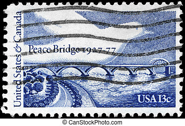USA - CIRCA 1977 Peace Bridge - USA - CIRCA 1977: A Stamp...