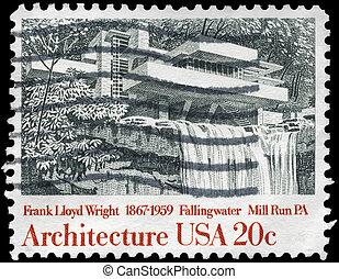 USA - CIRCA 1982 Fallingwater - USA - CIRCA 1980: A Stamp...