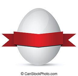 white Easter eggs with red ribbon on white