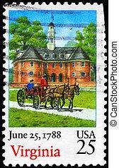 USA - CIRCA 1988 Virginia - USA - CIRCA 1988: A Stamp...