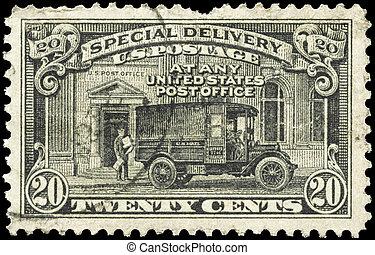 oficina, estados unidos de américa, -, camión, 1925, poste,...