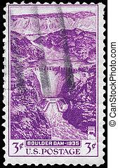 USA - CIRCA 1935 Boulder Dam - USA - CIRCA 1935: A Stamp...