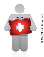 doctor with a medical kit illustration design