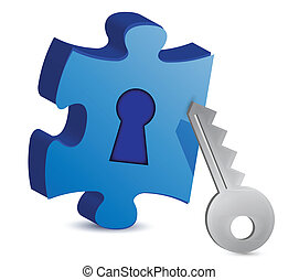 Key and puzzle illustration