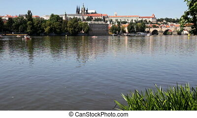 Prague, Czech Republic - The Prague Castle and the Vltava...