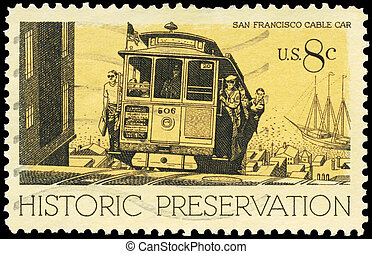 USA - CIRCA 1971 Cable Car - USA - CIRCA 1971: A Stamp...
