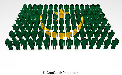 Mauritania Parade - Parade of 3d people forming a top view...