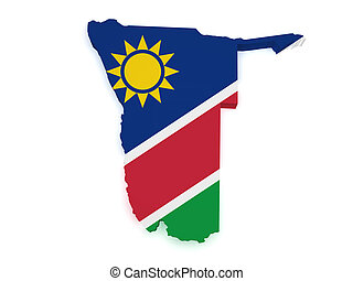 Namibia Map 3d Shape - Shape 3d of Namibia map with flag...