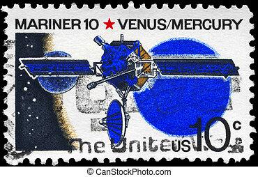 USA - CIRCA 1975 Mariner 10 - USA - CIRCA 1975: A Stamp...