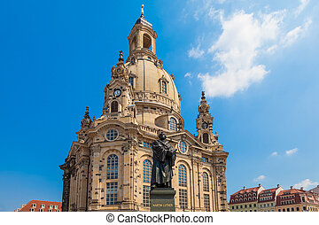 Dresden, Germany - Martin Luther Statue in front of the...