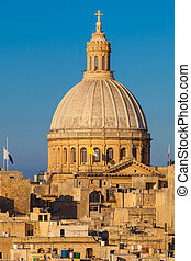 Valletta, Malta - The Dome of the Carmelite Church in...