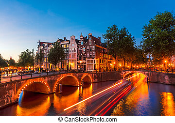 Amsterdam, the Netherlands - Amsterdam Canal and Light...