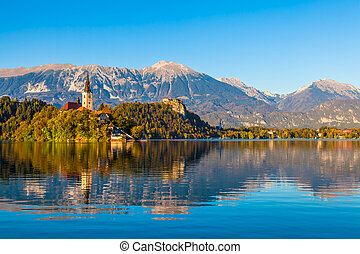 Lake Bled, Slovenia - Lake Bled in Slovenia with the Church...