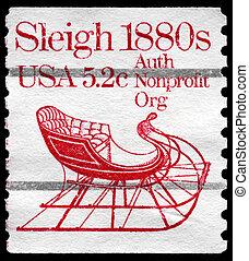 USA - CIRCA 1981 Sleigh - USA - CIRCA 1981: A Stamp printed...