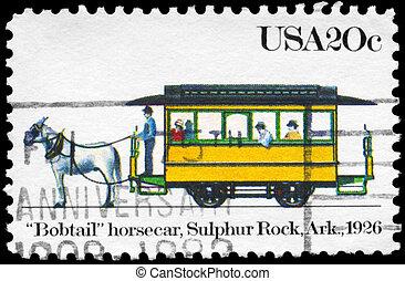 USA - CIRCA 1983 Horsecar - USA - CIRCA 1983: A Stamp...