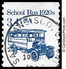 USA - CIRCA 1985 School Bus - USA - CIRCA 1985: A Stamp...