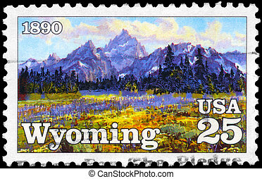 USA - CIRCA 1990 Wyoming - USA - CIRCA 1990: A Stamp printed...