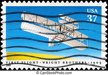 USA - CIRCA 2003 First Flight - USA - CIRCA 2003: A Stamp...