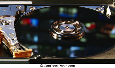 Hard disk, colorful - Hard Disk Drive, colorful reflection,...