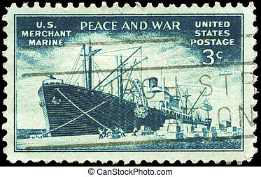 USA - CIRCA 1946 Merchant Marine - USA - CIRCA 1946: A Stamp...