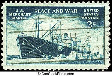 USA - CIRCA 1946 Merchant Marine - USA - CIRCA 1946: A Stamp...