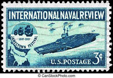 USA - CIRCA 1957 Aircraft Carrier - USA - CIRCA 1957: A...