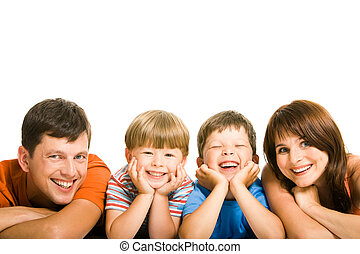 Family - Row of family members looking at camera with smiles...