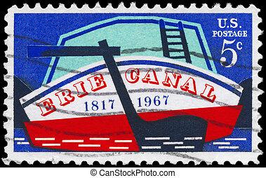 USA - CIRCA 1967 Erie Canal - USA - CIRCA 1967: A Stamp...