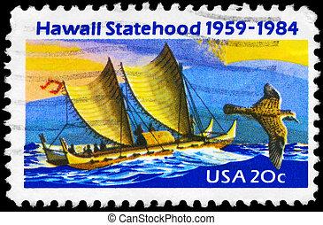 USA - CIRCA 1984 Polynesian Canoe - USA - CIRCA 1984: A...