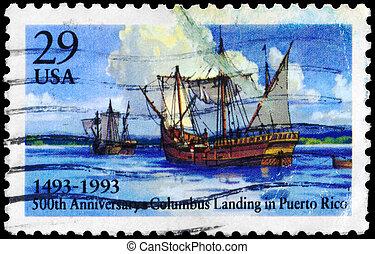 USA - CIRCA 1993 Columbus Landing - USA - CIRCA 1993: A...