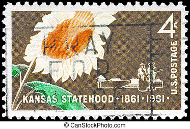 USA - CIRCA 1961 Sunflower - USA - CIRCA 1961: A Stamp...