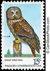 USA - CIRCA 1978 Great Gray Owl - USA - CIRCA 1978: A Stamp...