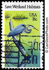 USA - CIRCA 1981 Heron - USA - CIRCA 1981: A Stamp printed...