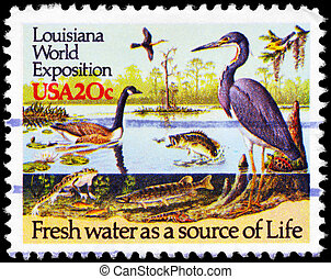 USA - CIRCA 1984 River Wildlife - USA - CIRCA 1984: A Stamp...