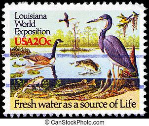 USA - CIRCA 1984 River Wildlife - USA - CIRCA 1984: A Stamp...