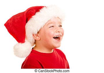 穿, 肖像, 帽子, 聖誕老人, 孩子