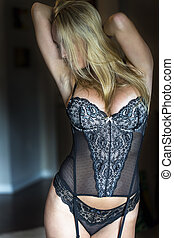 Blonde Model in Lingerie - Blonde model posing in lingerie...