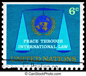 UNITED NATIONS - CIRCA 1969 Emblem and Scales - UNITED...