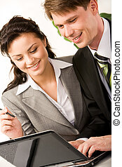 Teamwork - Vertical image of businessman and businesswoman...