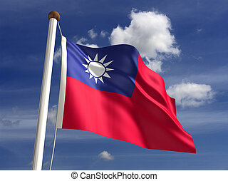 Taiwan flag (with clipping path)