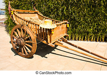 Wooden carts - Wooden carts are made of Thai farmers in the...