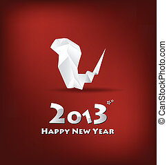 2013 New Year greeting card with origami snake, vector...