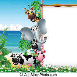 animal cartoon with blank sign - vector illustration of Wild...