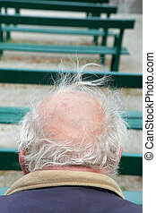 Baldness - Back of head of senior with grey hair