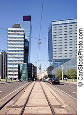 Vienna. Municipal landscape - Tram ways in the street in...