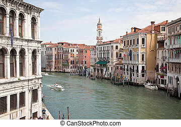 Urban landscape. Venice - Facades of houses and Large...