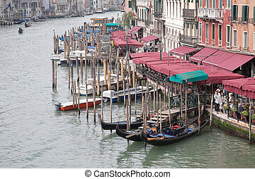 Embankment of Grand Canal. Venice - Facades of houses and...